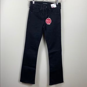 Express Mid Rise Barely Boot Black Jeans SHORT